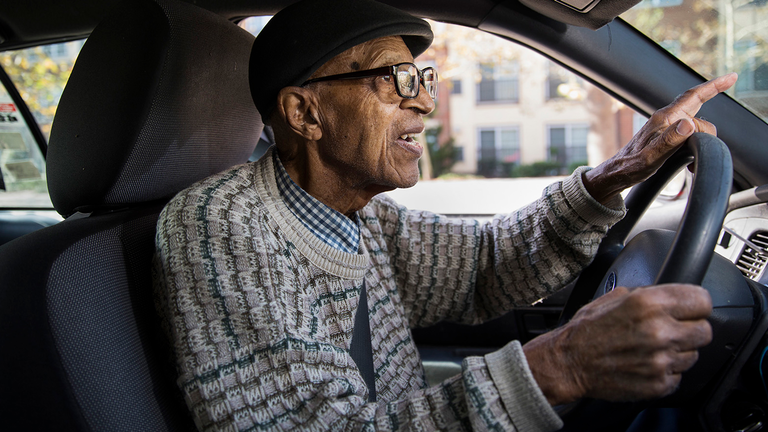 Seniors and Safe Driving-elderly man driving