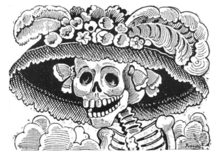 Festival of the Dead in the World of the Living-La Catrina, a huge symbol of Dia de los Muertos